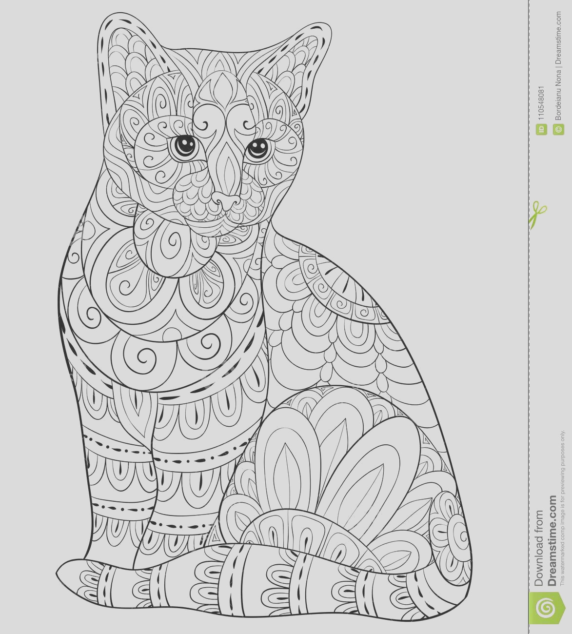 adult coloring book page cute isolated cat relaxing zen art style illustration floral ornamentson background poster image
