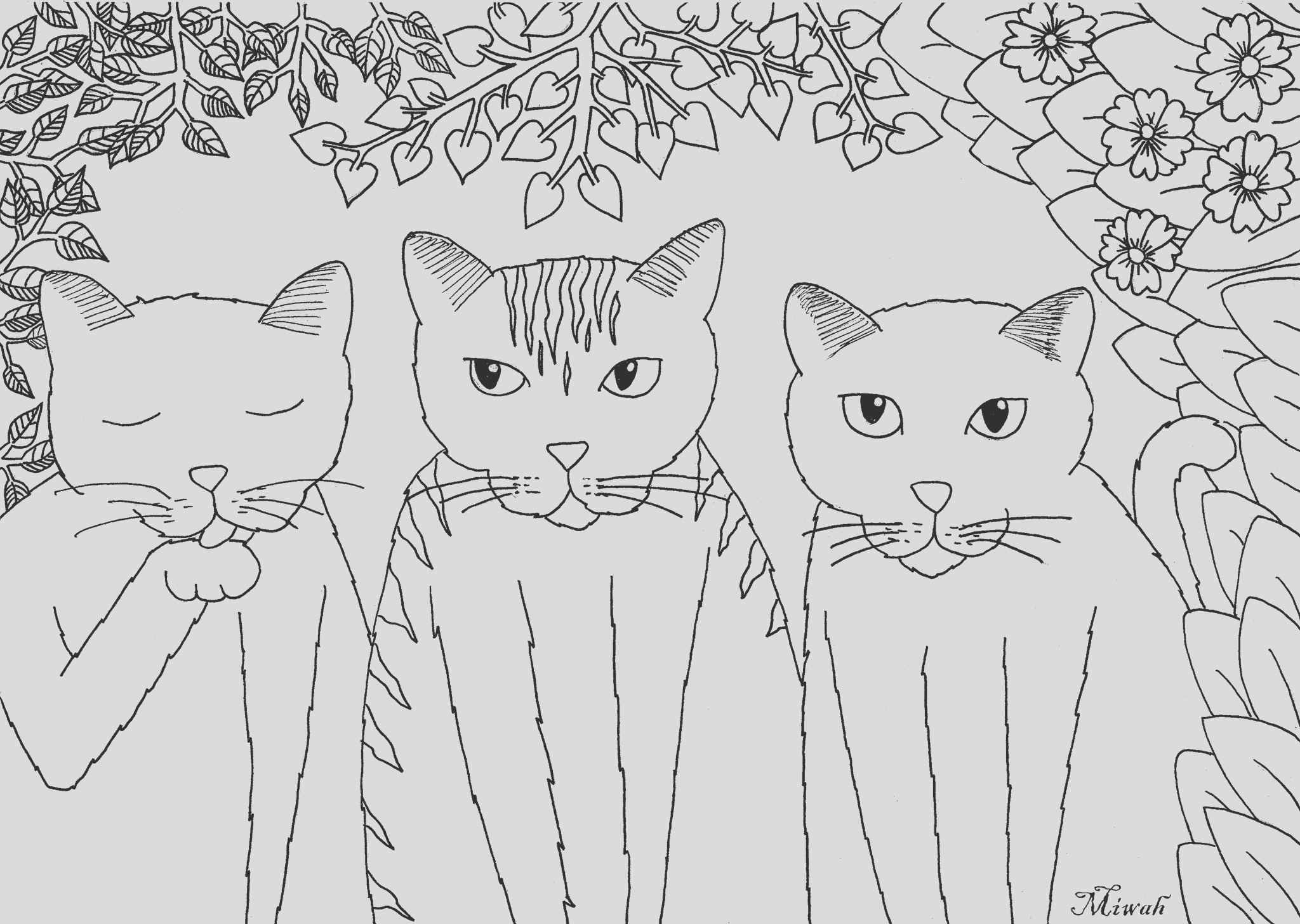image=cats coloring tree little funny cats by miwah 3