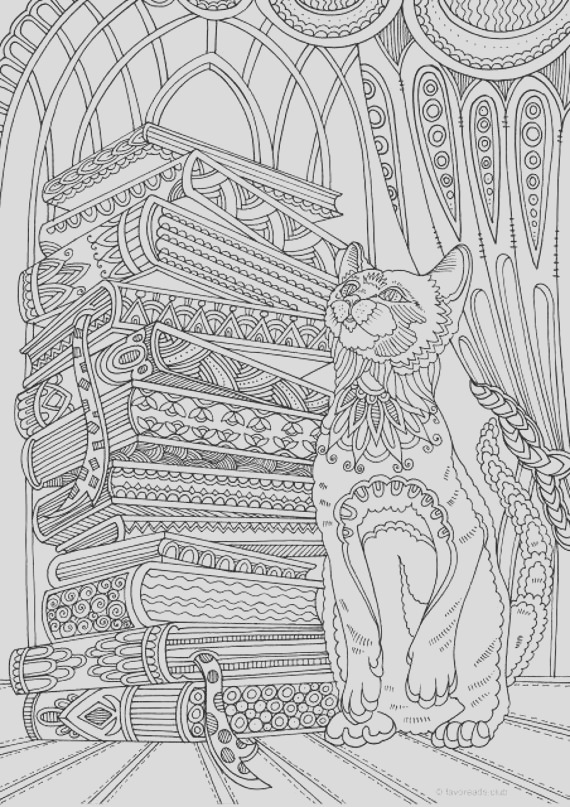 cat and books printable adult coloring