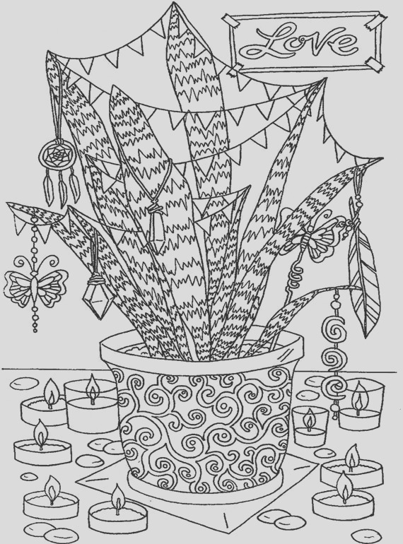 love hippie party plant adult coloring