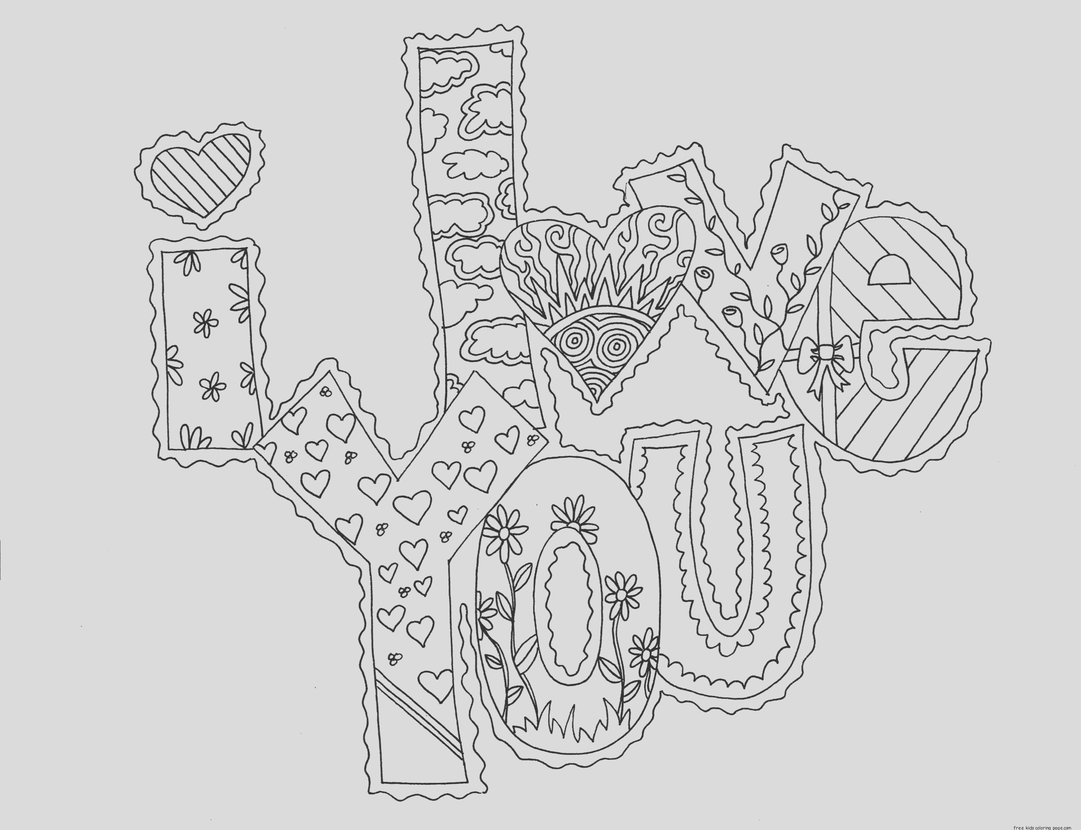 printable i love you my valentine cards coloring pages