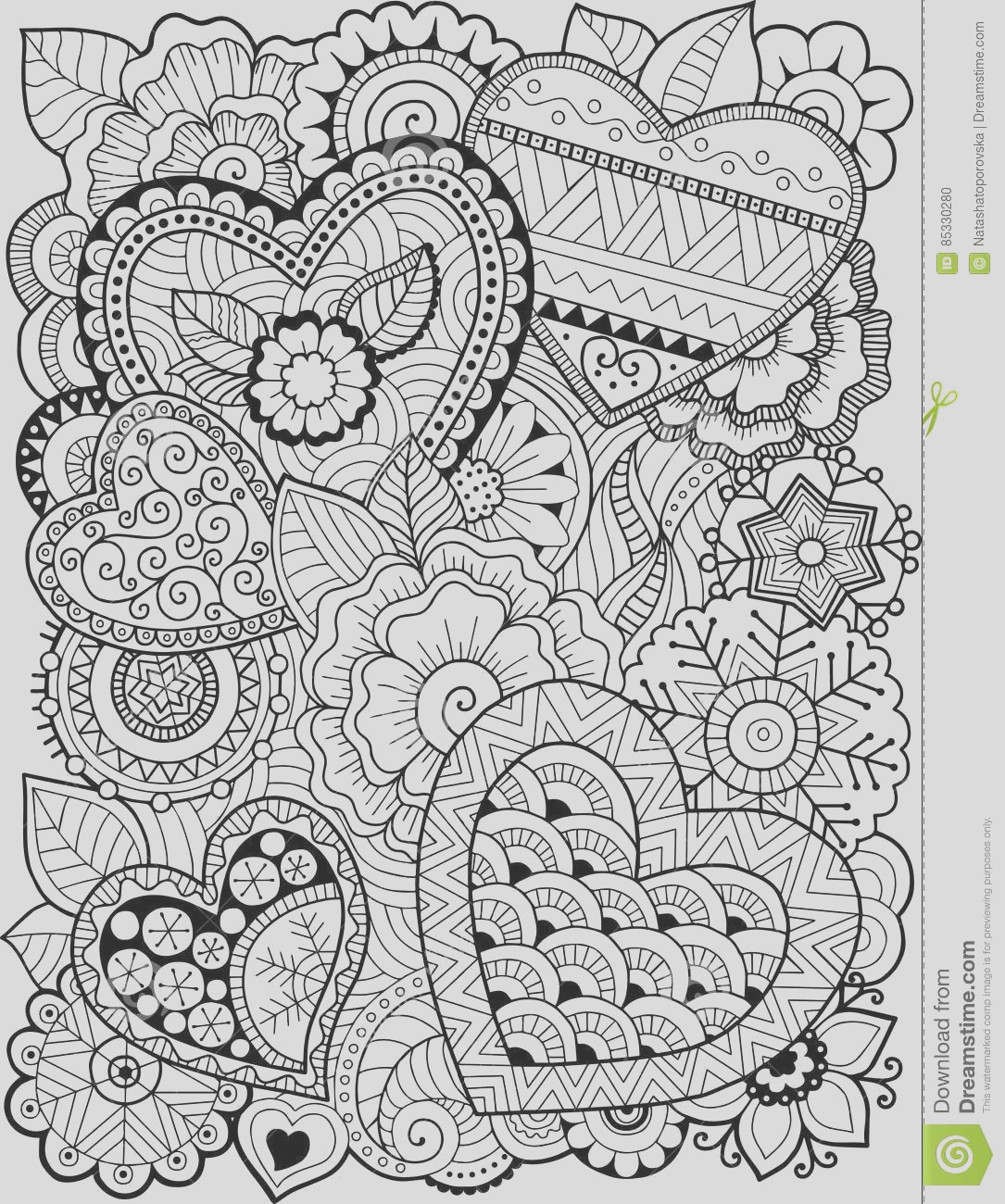 stock illustration coloring book adult hearts flowers valentines day vector page adults hand drawn background white greeting cards image