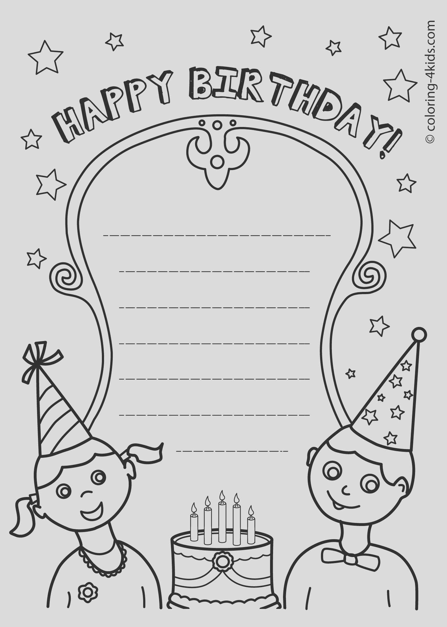 coloring birthday cards