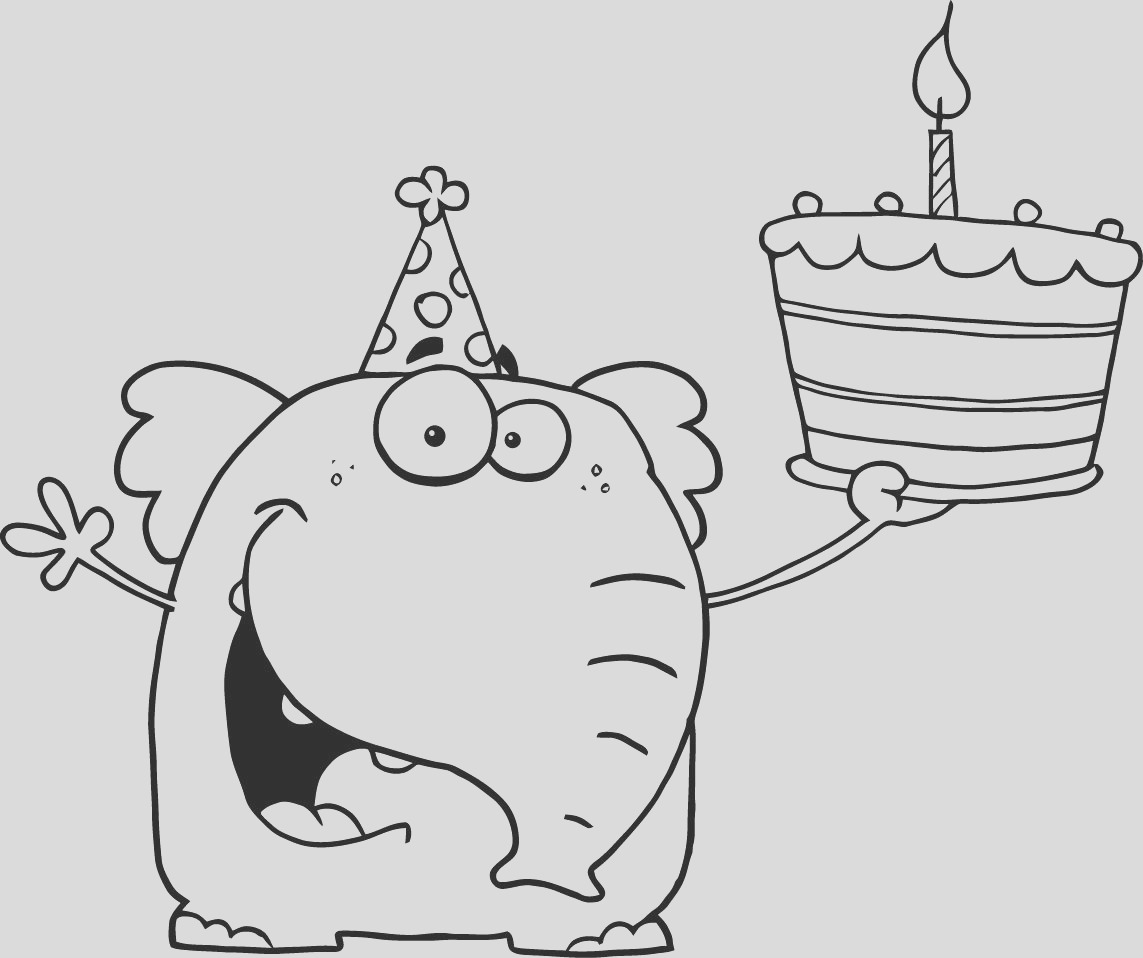 happy elephant holds its first birthday cake color sheet