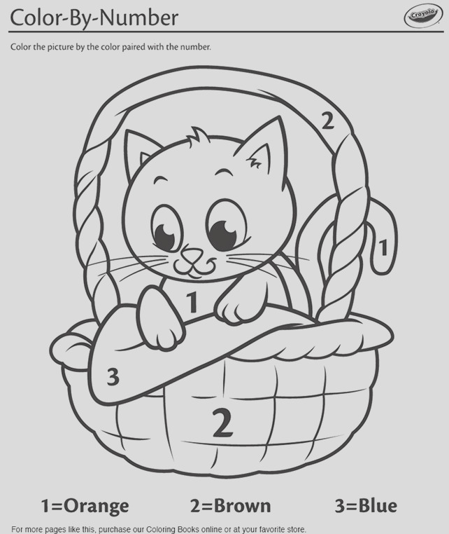 kitten in a basket color by number coloring page