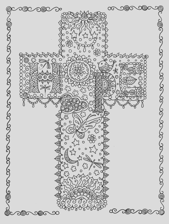 hope cross digital coloring page instant