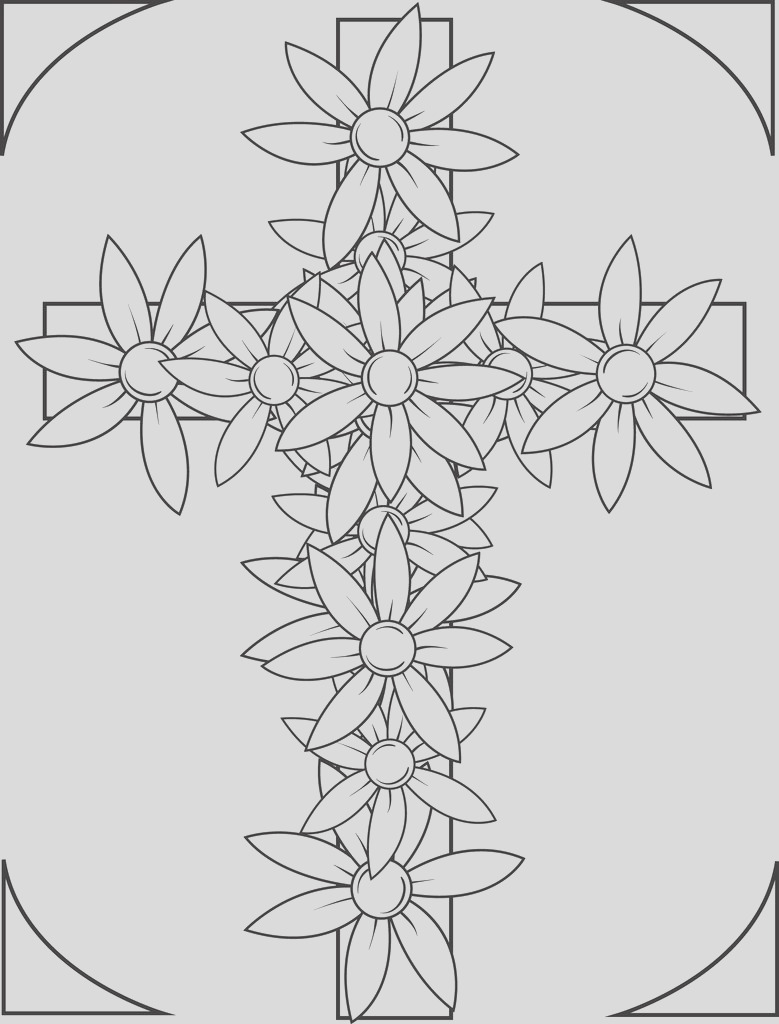 cross with flowers coloring page a4590
