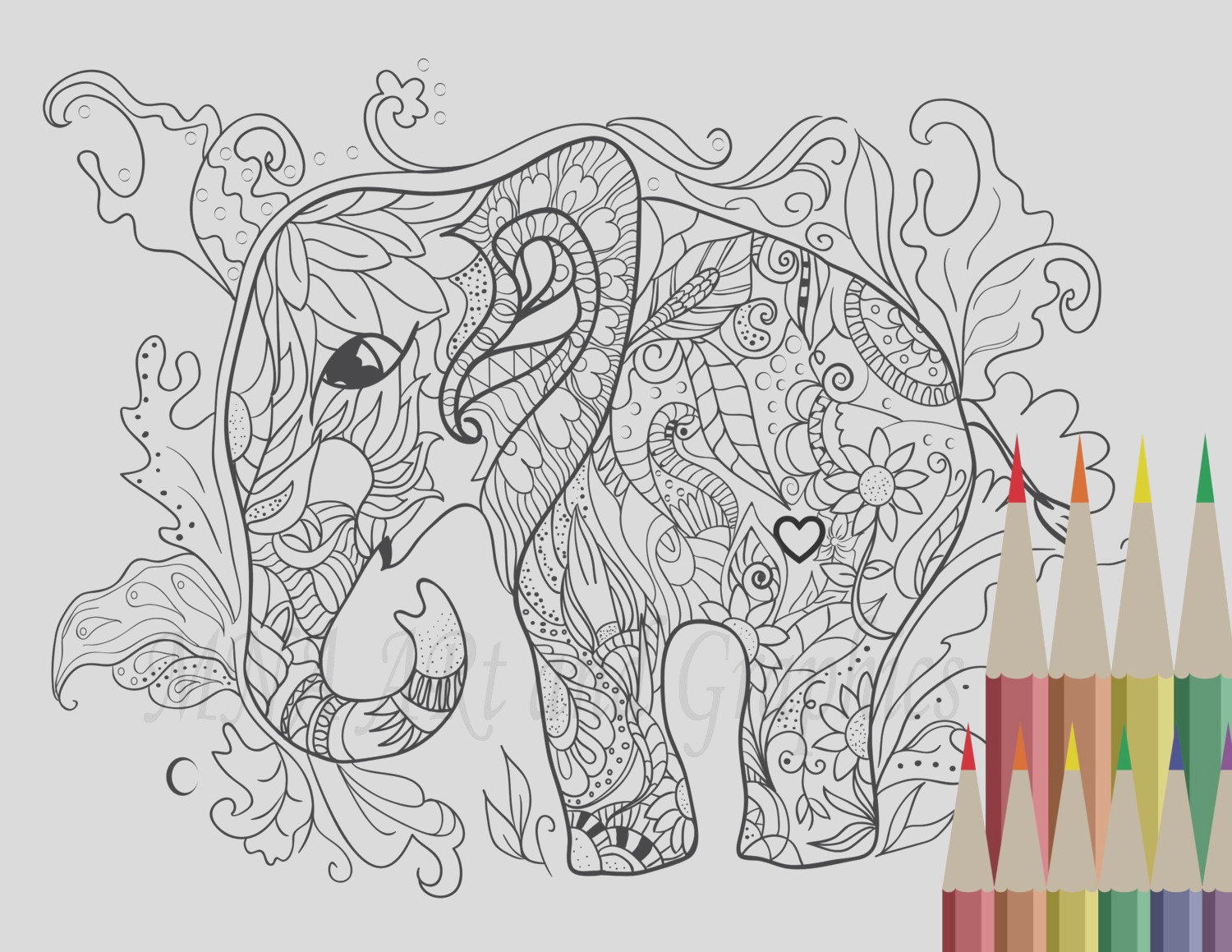 elephant coloring page adult coloring