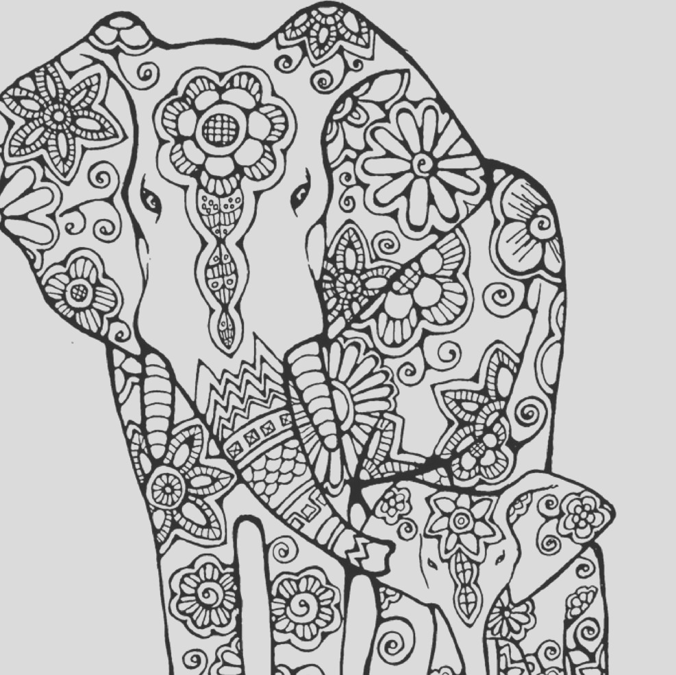 elephant coloring page to print and