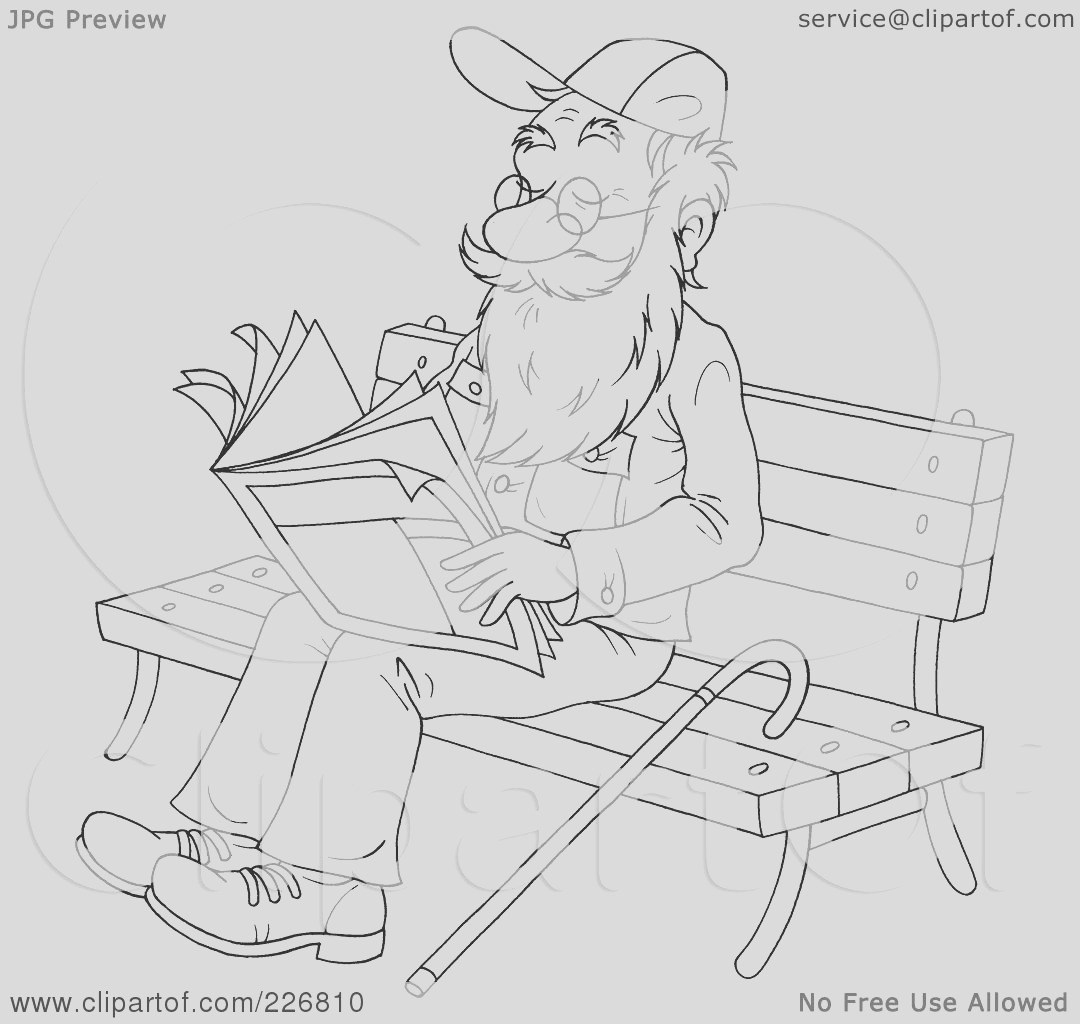 coloring page outline of a senior man reading on a bench