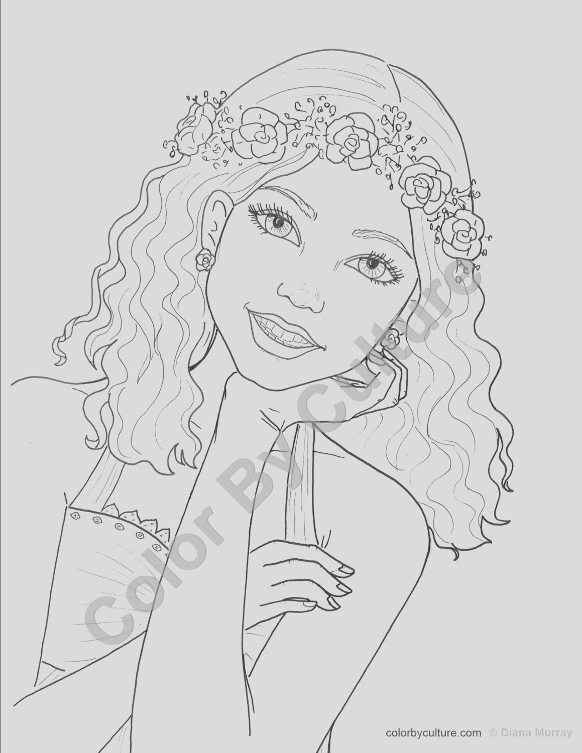 fashion coloring page girl with flower