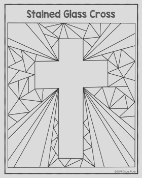 Easter Coloring Pages Stained Glass Cross