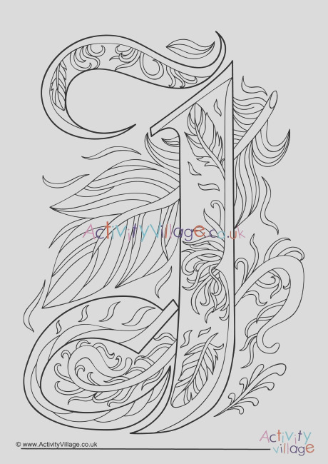 illuminated letter j colouring page