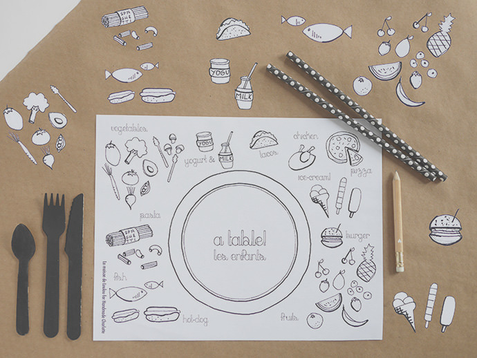 diy coloring placemats for the food loving little