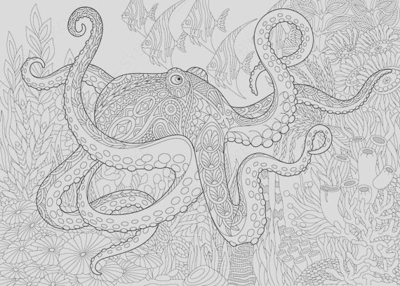 ocean world octopus 3 coloring pages