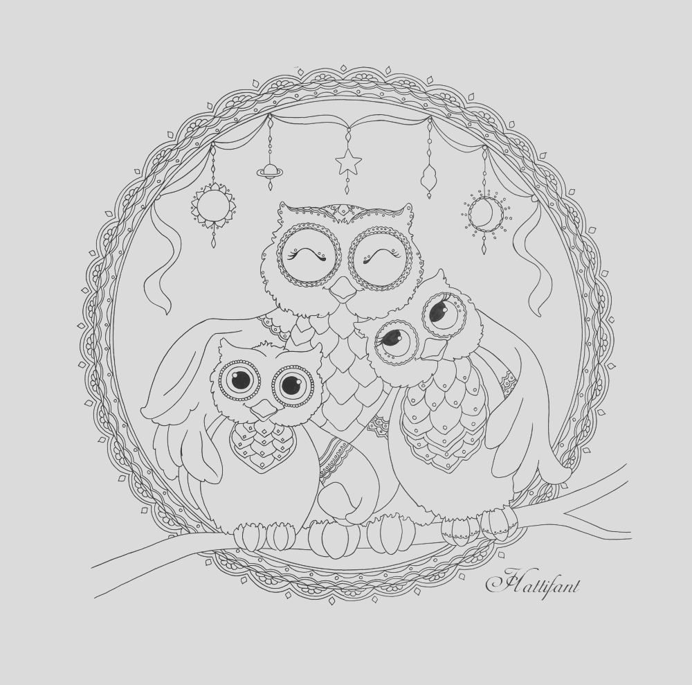 owl family love coloring page