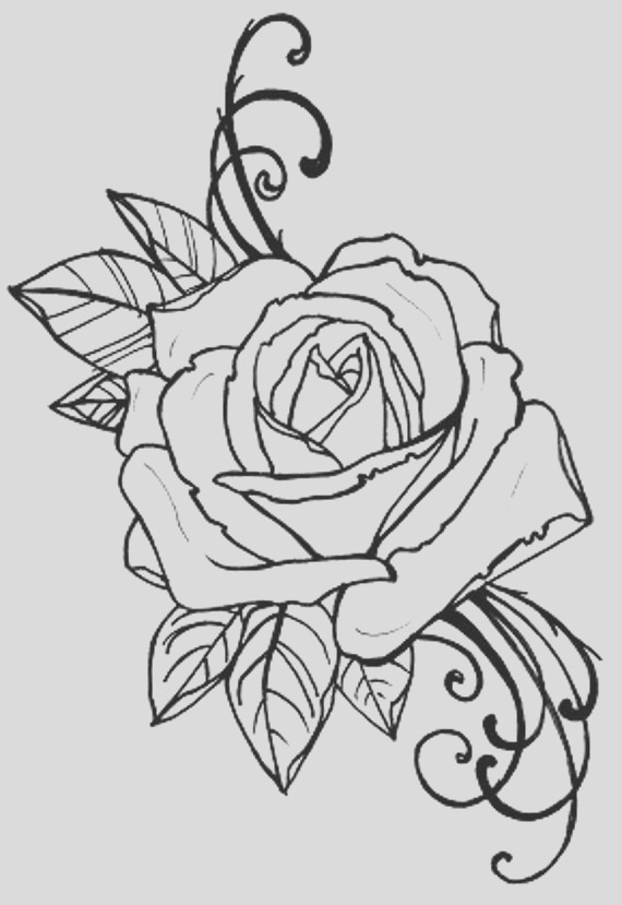 coloring book page tattoo rose digital