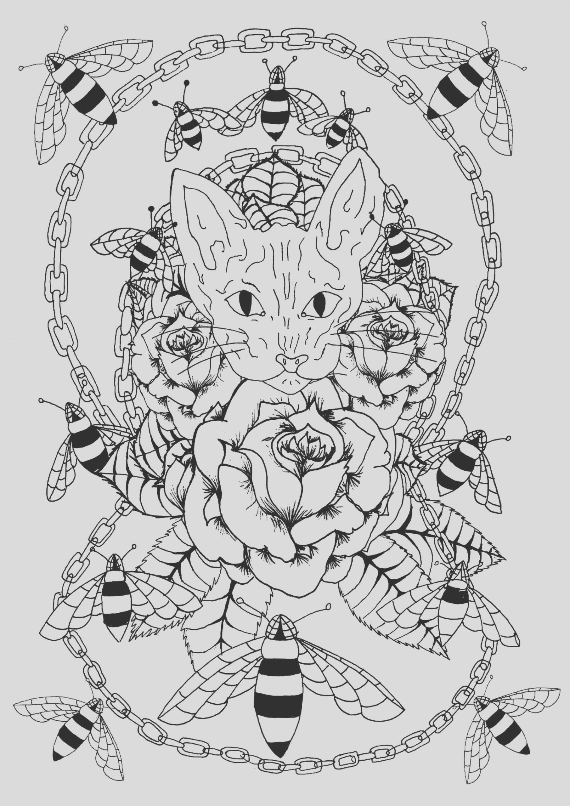 image=tatoo coloring sphinx bees and metal chain 1