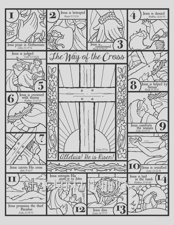 the way of the cross coloring page and