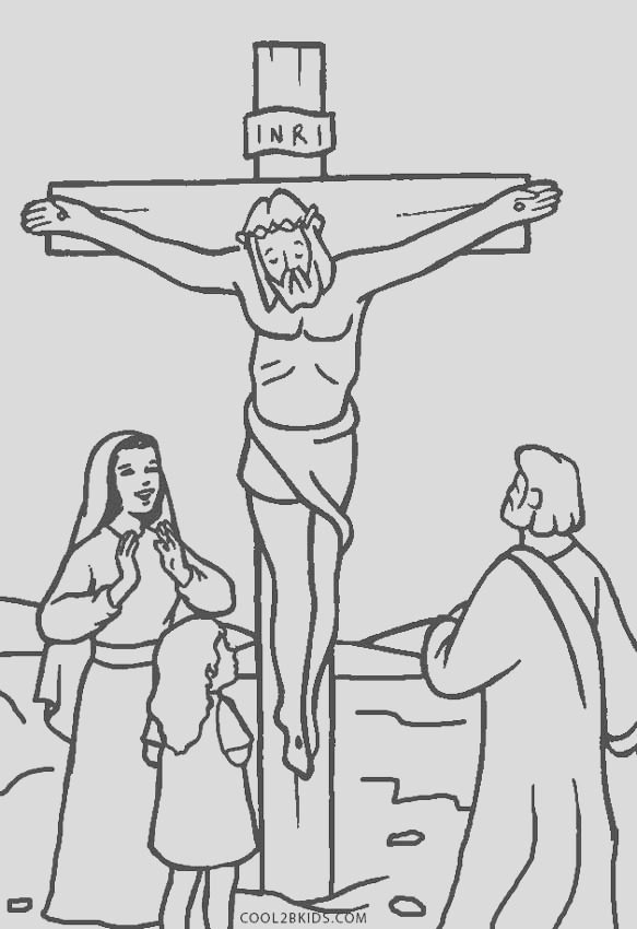 jesus on the cross coloring pages printable