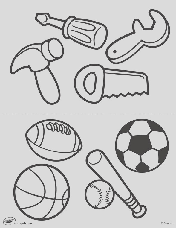 first pages tools and sports coloring page