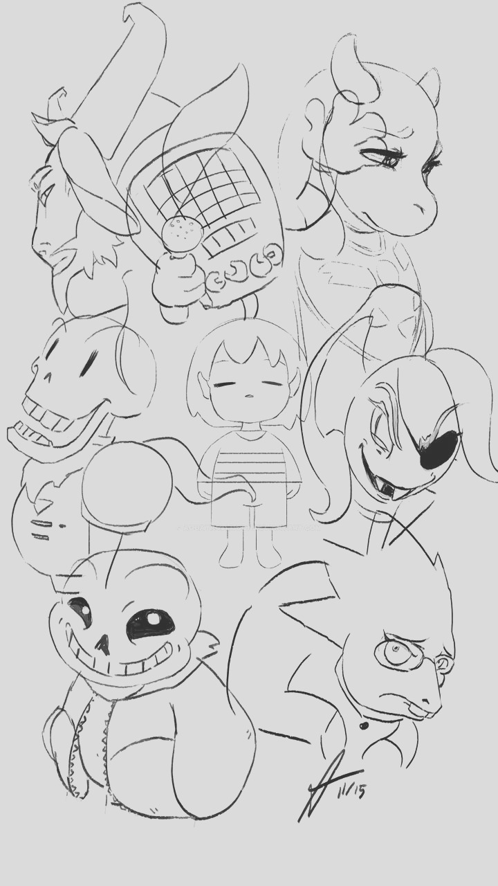 Undertale Main Characters Sketch