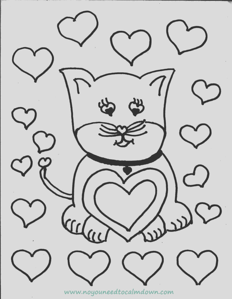 cute cat valentines day coloring page free printable