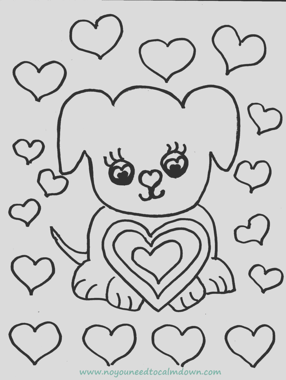 cute dog valentines day coloring page free printable