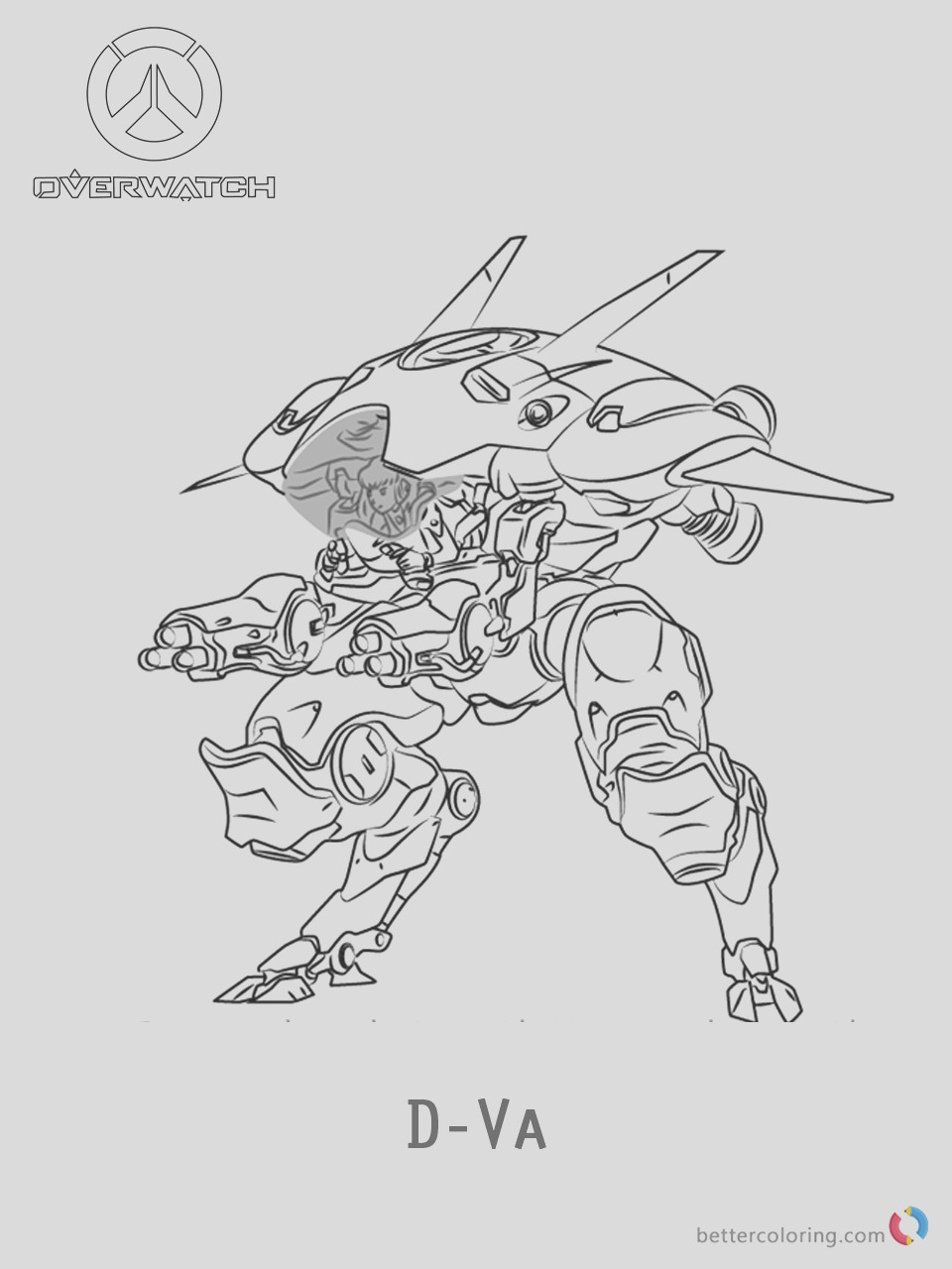 d va from overwatch coloring pages