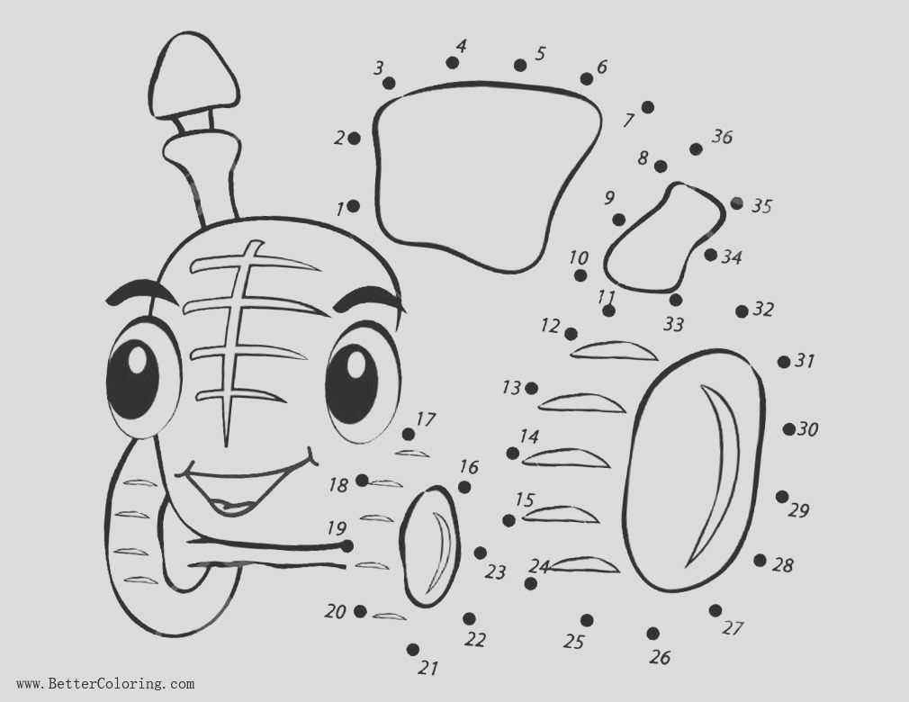 tractor coloring pages connect the dots by number activity