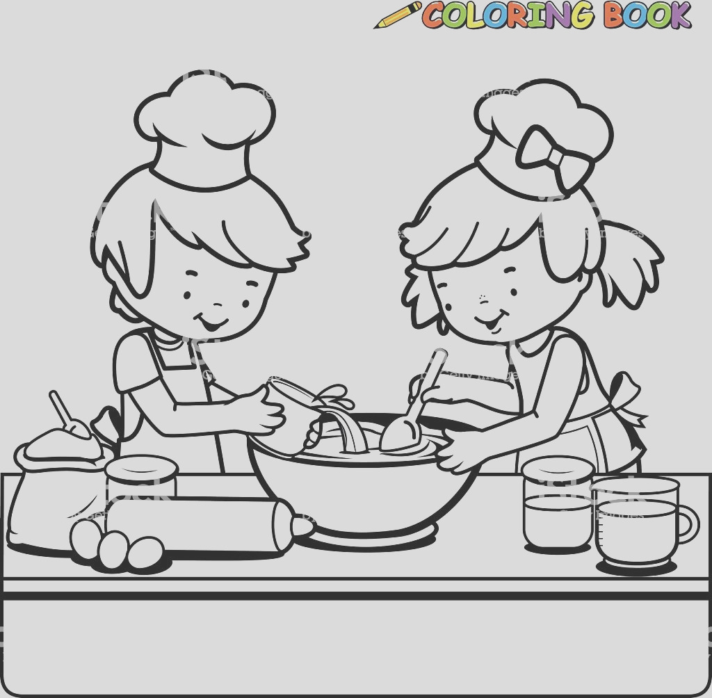 children cooking coloring book page gm