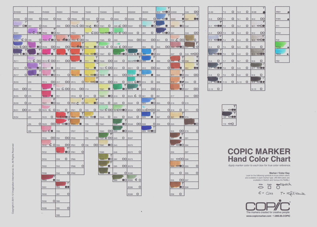 Copic Marker Color Chart
