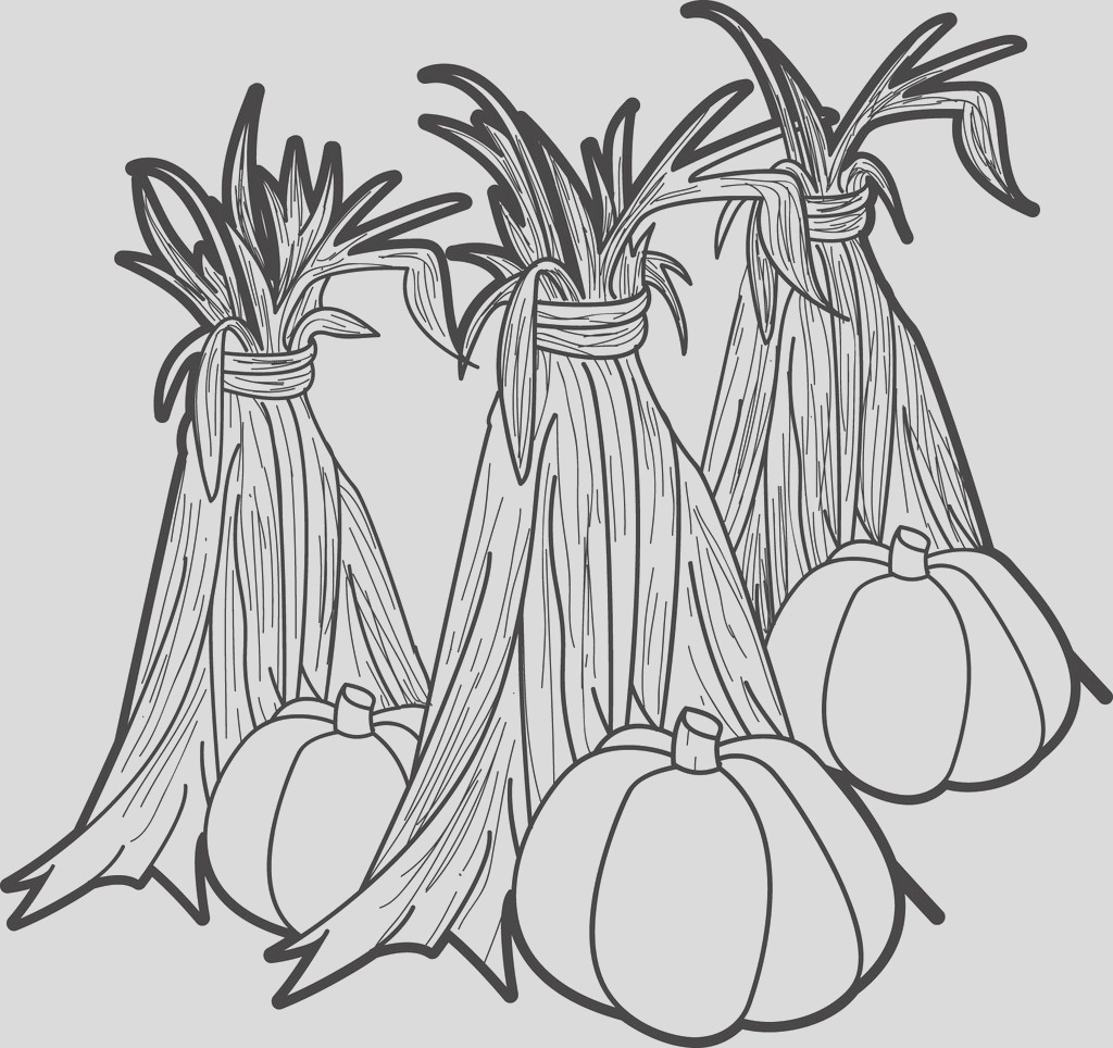 pumpkins gourds and hay coloring page a4349