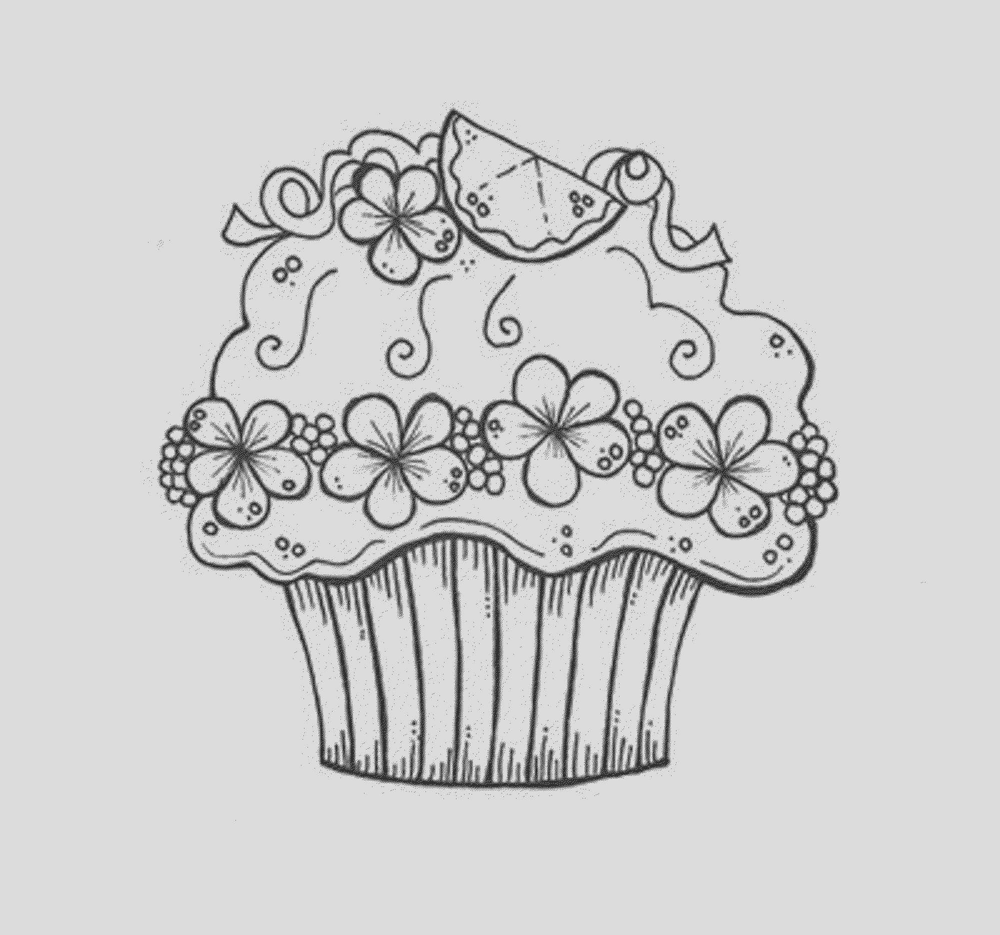 coloring sheet of a cupcake printable kids colouring pages