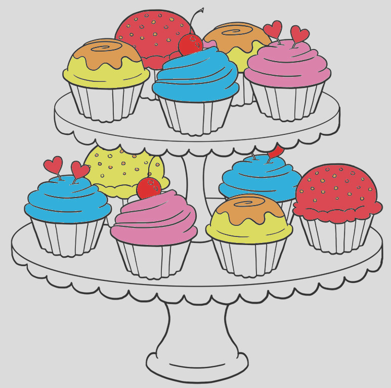 coloring cup cake