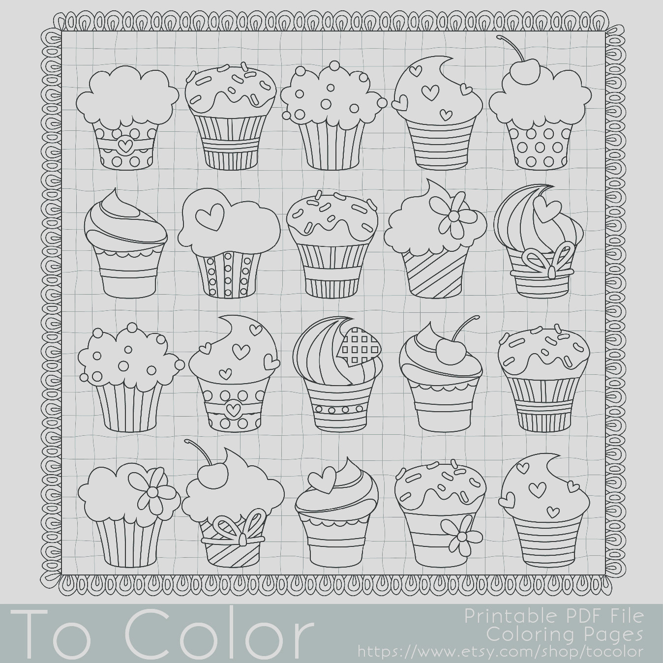 cupcakes coloring page for adults pdf