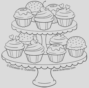 coloring page tuesday tier of cupcakes