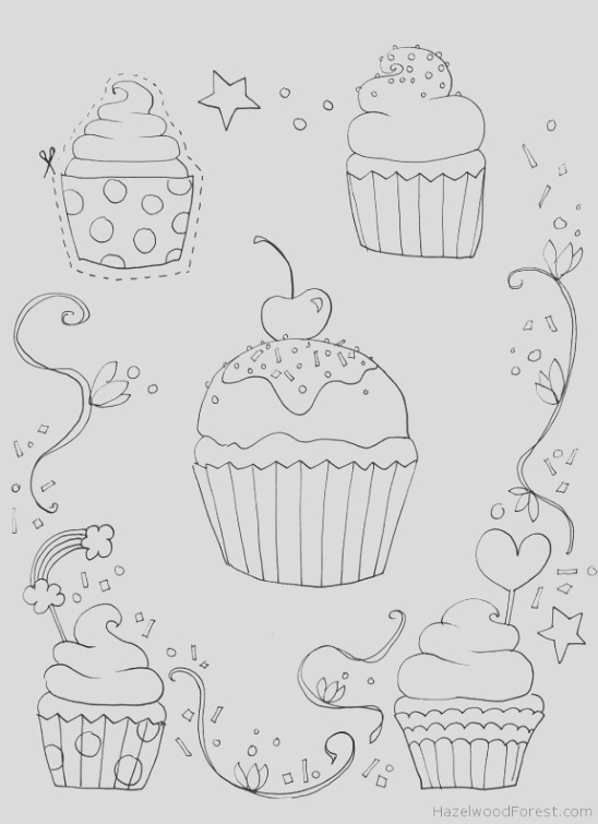 coloring for adults cakecupcake and drink