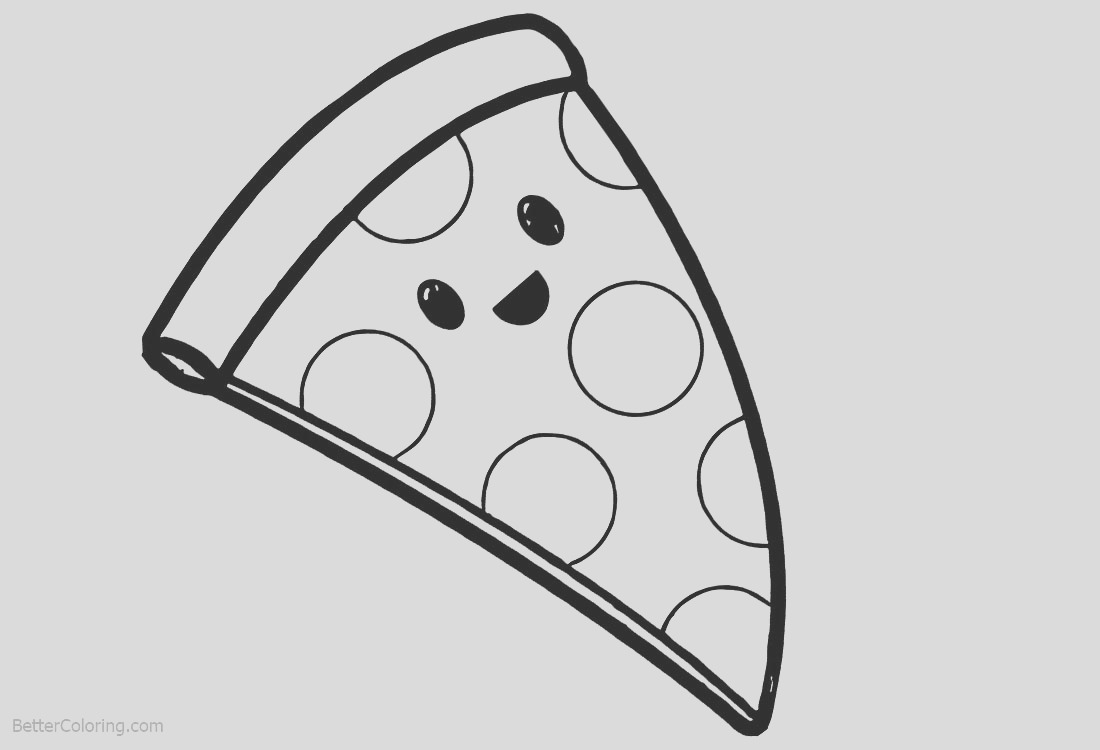 cute food coloring pages cartoon pizza
