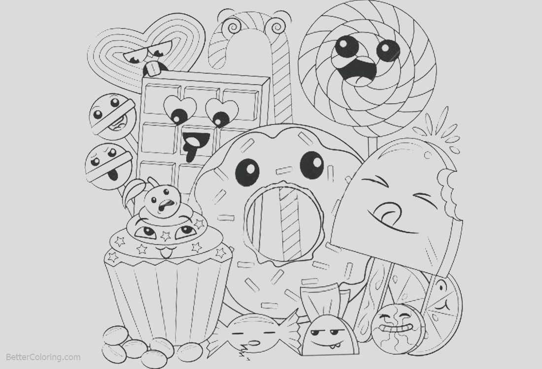 cute food coloring pages happy cartoon dessert