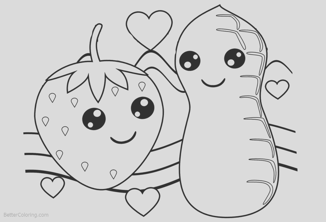 cute food coloring pages strawberry and peanut