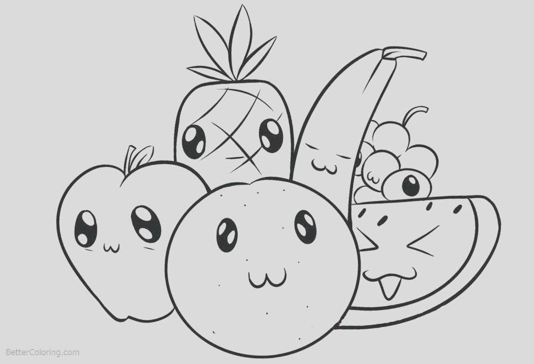 cute food coloring pages cartoon fruits