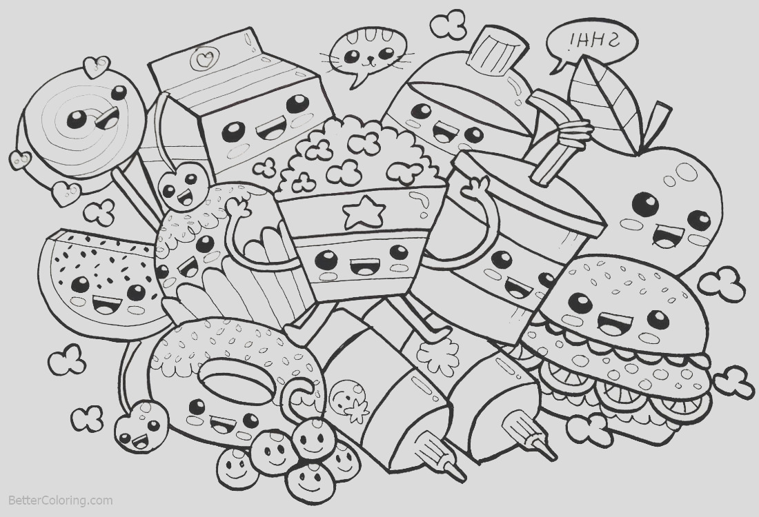 cute food coloring pages many snacks