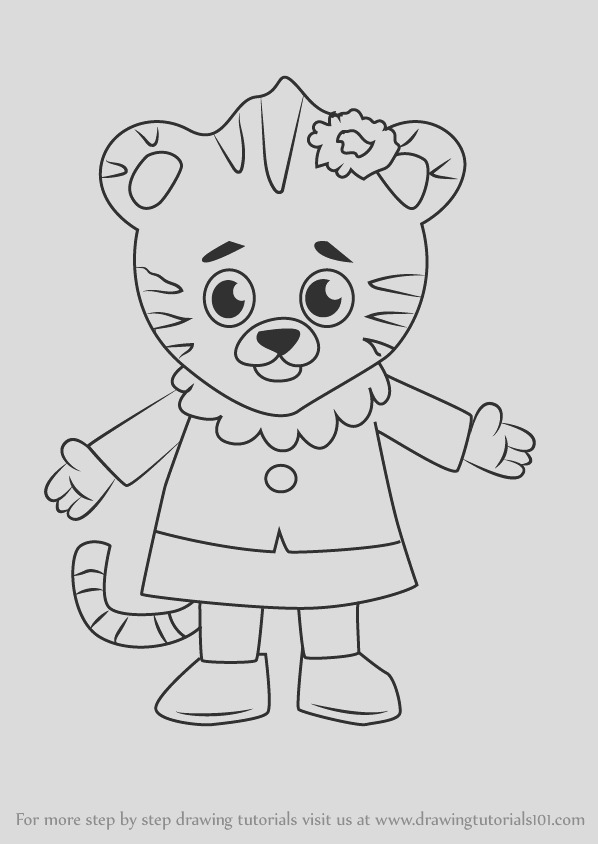 how to draw margaret tiger from daniel tigers neighborhood