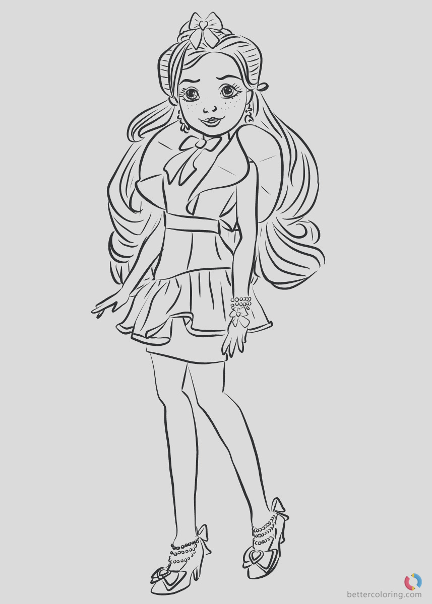 jane wicked world from descendants 2 coloring pages printable for kids