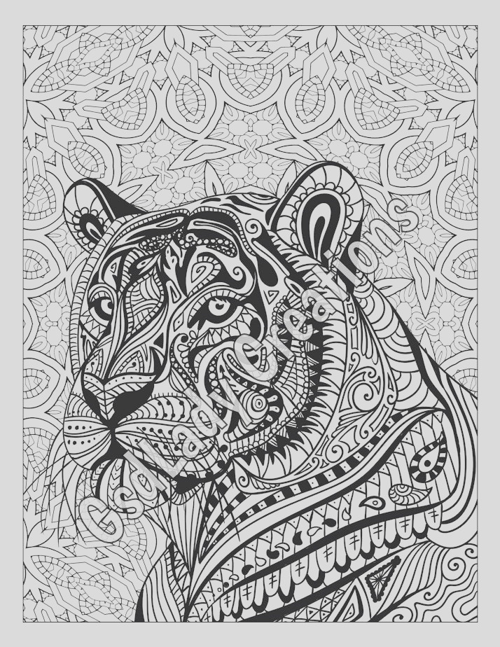 zen tiger animal art page to color