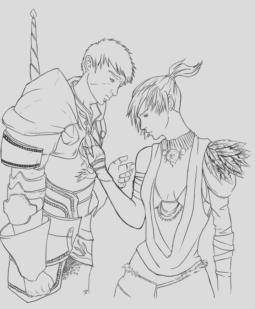 morrigan and aedan lineart
