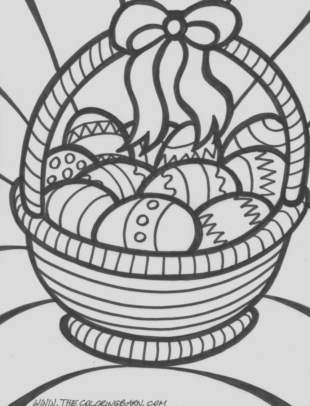 7 easter basket with eggs coloring pages