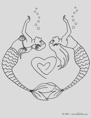 mermaid coloring pages easy