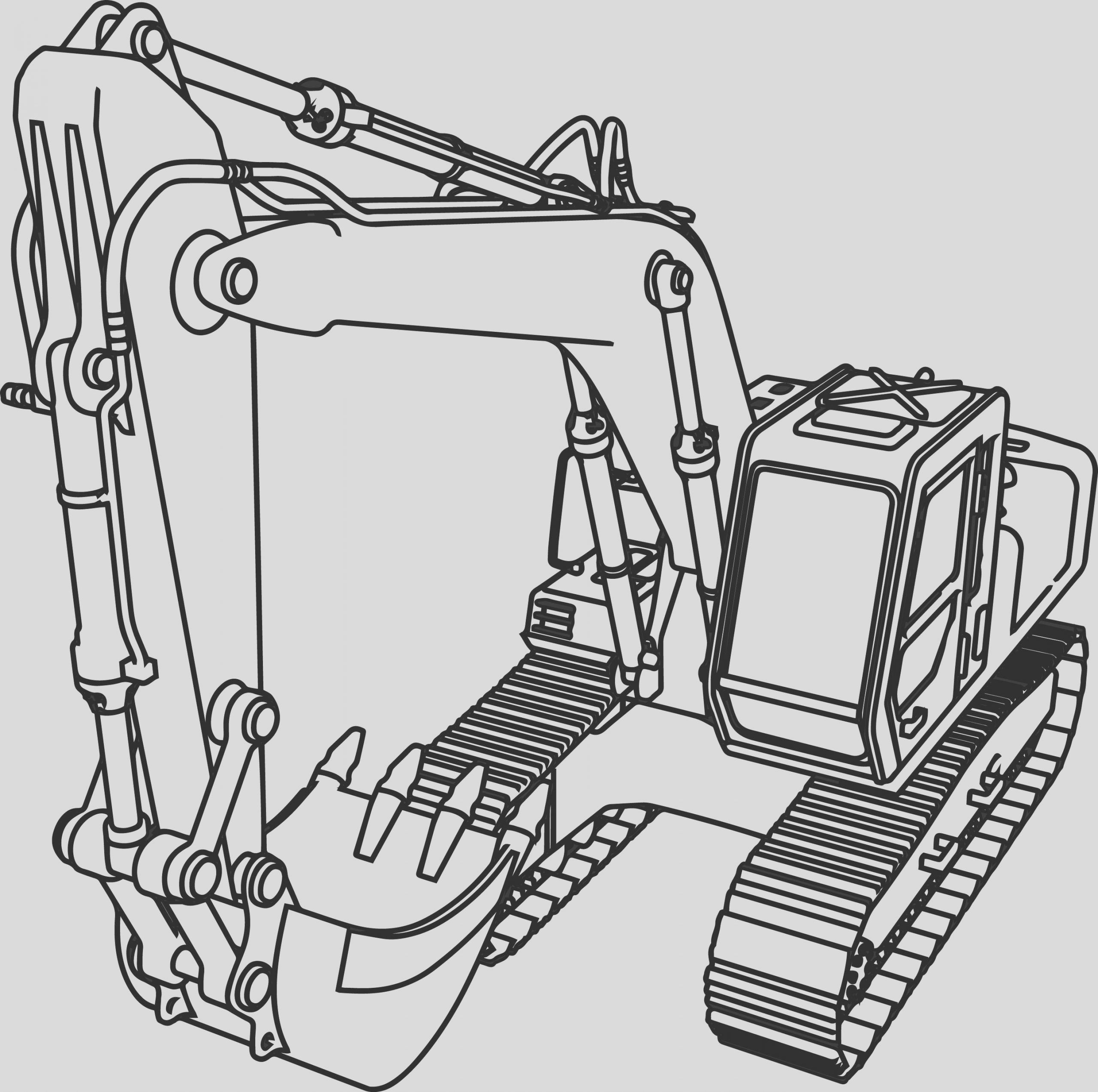 good excavator coloring page